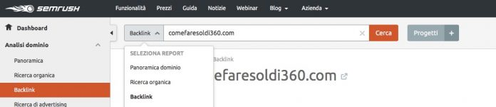 Analisi backlink SEMRush